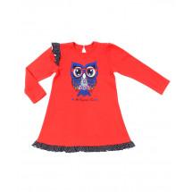 """Платье с длинным рукавом красного цвета """"сова в очках"""""""