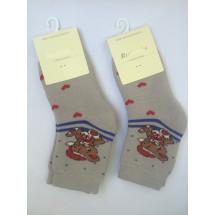 Носки теплые бежевые с мишкой