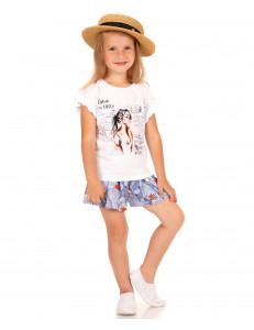 """Комплект летний для девочек шорты и футболка """"Девушка в горах"""""""