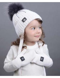 """Варежки зимние двойные белого цвета """"Кнопка"""""""