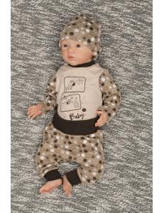 """Комплект для малышей коричневого цвета (боди и штаны) """"Baby"""""""