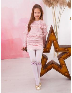Колготки белого цвета с розовыми кошками на коленках
