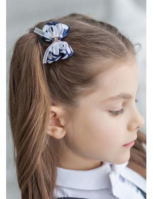 """Зажим для волос бело-синего цвета в горох """"Маленькая фиалка"""" (2шт)"""